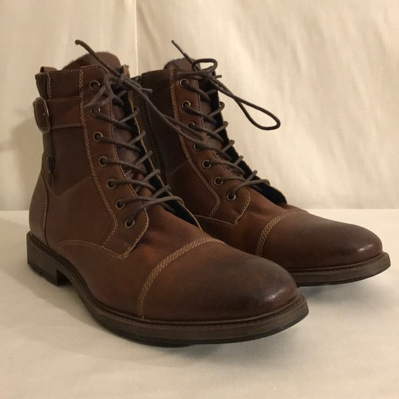 Mens Apt 9 Brown Leather Boots Size 3